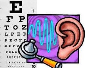 Picture of eye chart, ear, and hearing tool